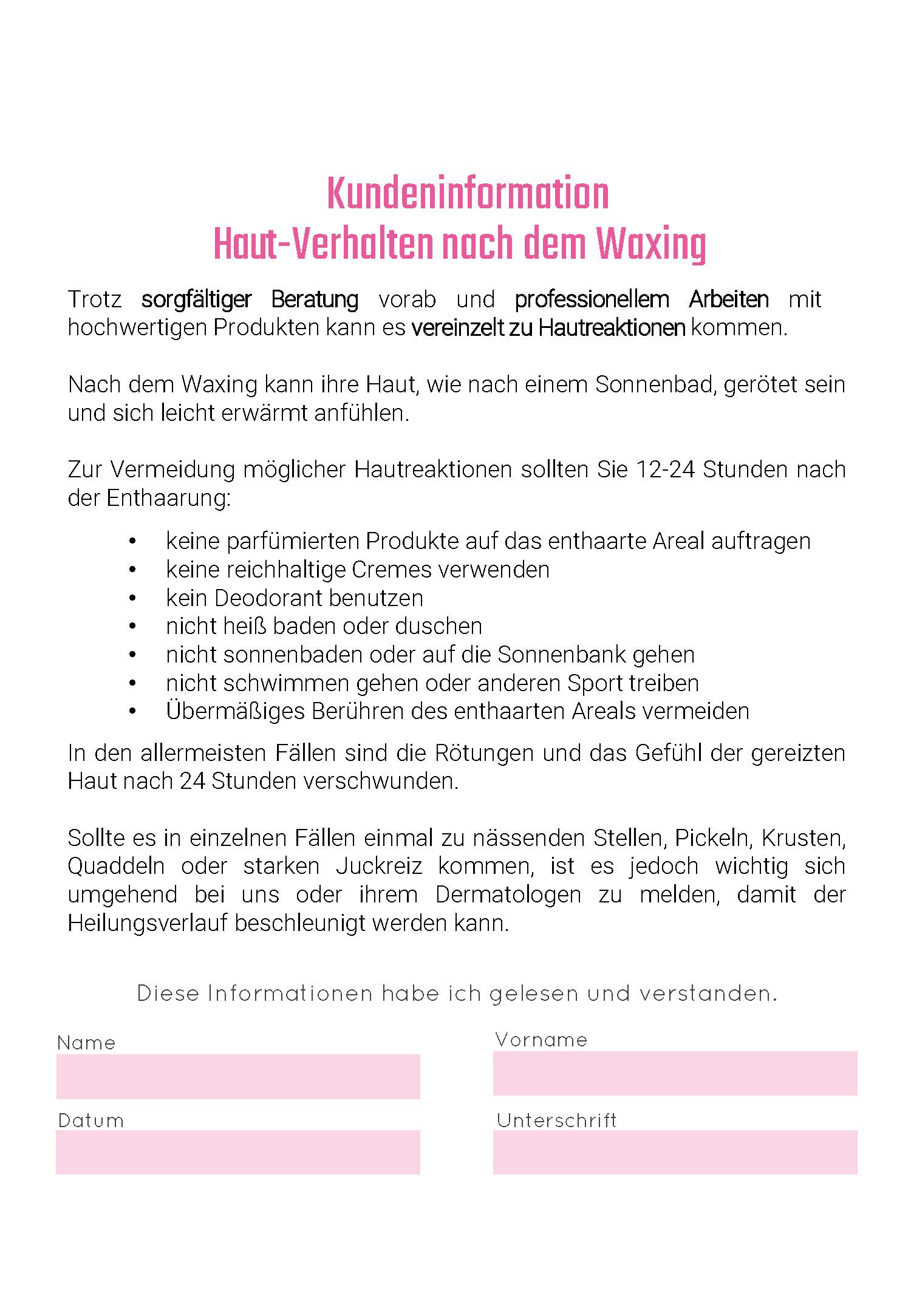 PINK Cosmetics - Kundeninformation Hautreaktion
